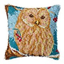 """Latch Hook Complete Cushion Cover Kit""""Owl on a Branch""""43x43cm"""