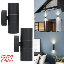 2x Black Stainless Steel Up Down Wall Light GU10 IP54 Double LED