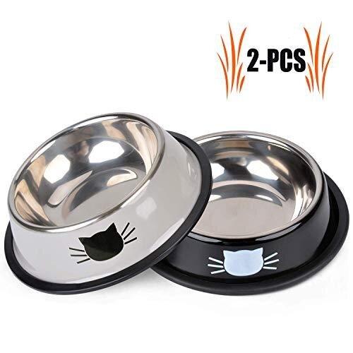 Legendog Cat Bowls, 2 Pcs Food Grade Feeding Bowl Cat Stainless Steel Non-slip Cats Bowl Cat Bowl Set | Food Bowl Cat | Cat Water Bowl | Pet Bowls f