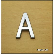Self Adhesive 3D Chrome Letters Silver House Door Car 7cm CURVED - A