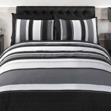 Signature Striped Adults Teenagers Quilt Duvet Cover Bedding Bed Set, Grey, Double