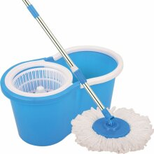 360° SPINNING ROTATING SPIN MOP FLOOR BUCKET 2 MICROFIBRE CLEANING