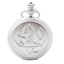 Fullmetal Alchemist Pocket Watch With Chain Box Cosplay Necklace Pandant Anime Merch(Silver)