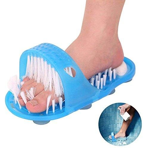 Ddfly Bathroom Shower Foot Scrubber Feet Exfoliate Cleaner Bristle Slipper No Bending Foot Massager Stick with Suction Cup - 1 Pack