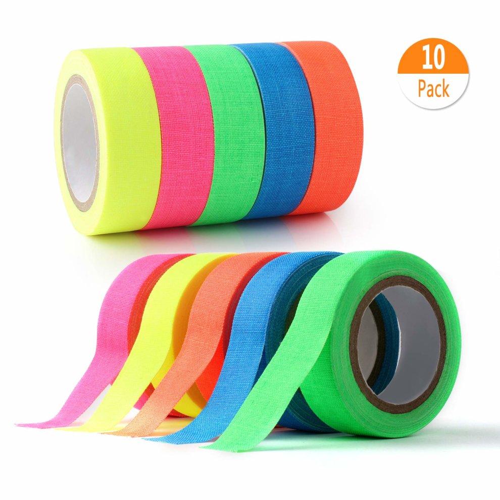 fluorescente//neon Gaffer tape 0.5/in x 16.5/ft 10-pack UV Blacklight Reactive Glow in the Dark tape