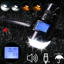 USB Rechargeable Bicycle Lights Bike Cycling Head Front Rear MTB Tail Lamp Set