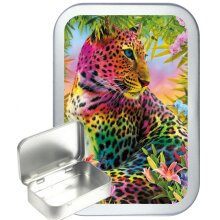 Colourful Leopard 50ml Silver Hinged Tobacco Tin, Gift Tin