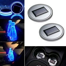 LED Solar Cup Mat Holder Pad Lights Cover Interior Decors Lamp Car Accessories