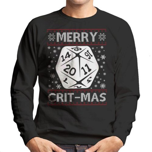 (Small, Black) Dungeons And Dragons Merry Critmas Christmas Knit Pattern Men's Sweatshirt