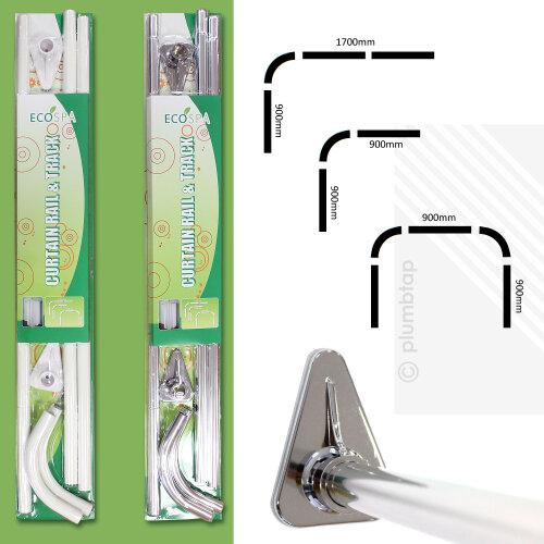 EcoSpa Shower Bath Curtain Rail Pole Track L or U Shaped