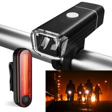 Bike Bicycle Lights LED Rechargeable Set Cycle Front Back Headlight