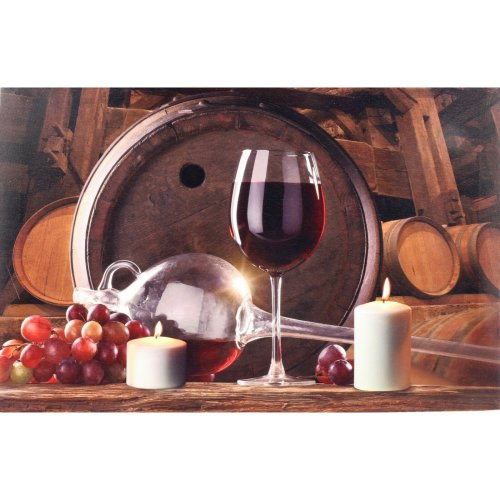 Anilar LED Large Light up Canvas Pictures 60cm x 40cm Wall Hanging Red Wine & Barrels