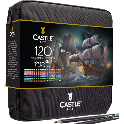 Castle Arts 120 Piece Coloured Pencils Art Set with Zip up Case