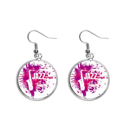 Sax Jazz Music Culture Pattern Ear Dangle Silver Drop Earring Jewelry Woman