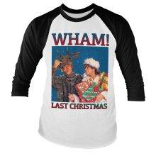Officially Licensed WHAM - Last Christmas Baseball Long Sleeve T-Shirt (White-Black)