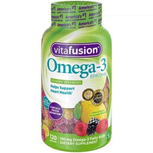 Vitafusion Omega-3 EPA/DHA Gummy Vitamins, Berry & Lemonade, 120 ct