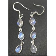 Rainbow moonstone pear drop earrings, multi, solid Sterling silver.