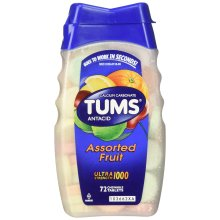 Tums Ultra Maximum Strength Chewable Tablets, Assorted Fruit - 72 Ea