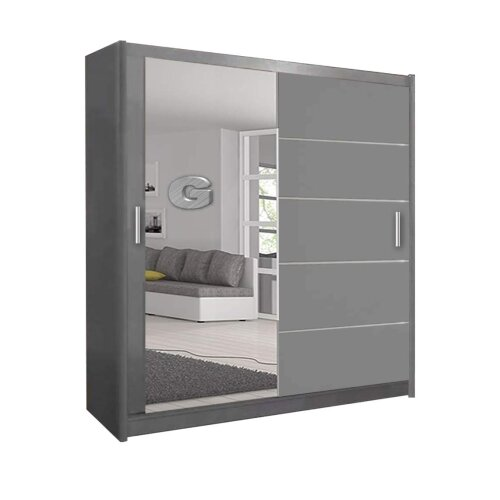 (Grey, 180cm) Lyon Modern Bedroom Sliding Door Wardrobe 2 LED's