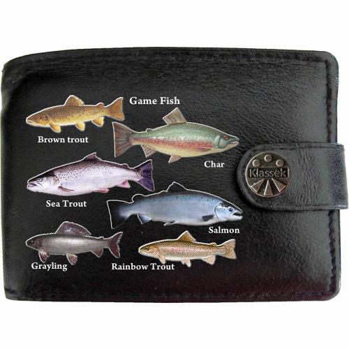Game Sport Fishermans Fishing Mens Wallet Chain Leather Coin Pocket Klassek RFID Blocking Credit Card Slots and Metal Gift Box