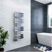 Koli 1200 x 450mm Chrome Flat Designer Heated Bathroom Toilet Towel Rail Radiator