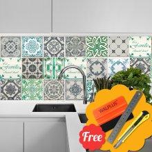 Vinatge French Quote Wall Tile Mosaic Stickers 48pcs 15cm x 15cm