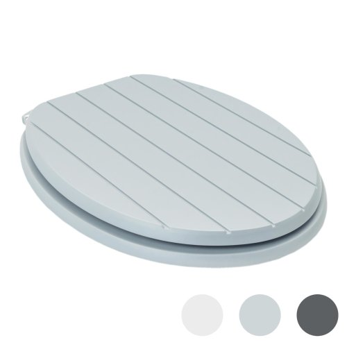 Harbour Housewares Soft Close Toilet Seat - Wooden with Chrome Hinges - Grooved Grey