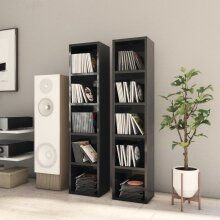 vidaXL 2x CD Cabinets High Gloss Black Chipboard Media Storage Rack Bookcase