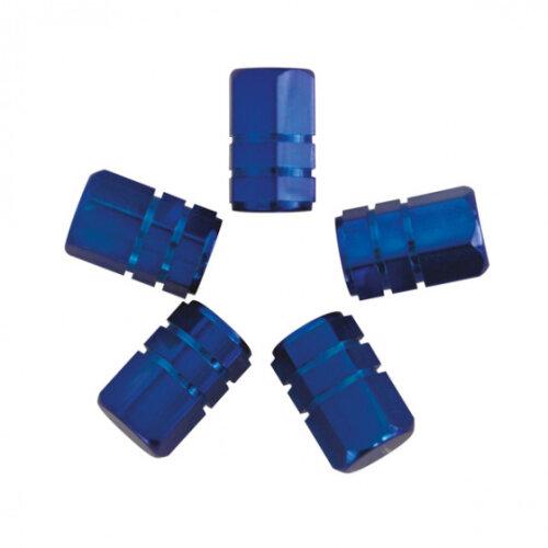 valve caps Piston 13.9 mm steel blue 5 pieces