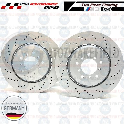 FOR BMW M3 E46 CSL Z4 M E85 E86 FRONT LEFT RIGHT DRILLED BRAKE DISCS PAIR 345mm