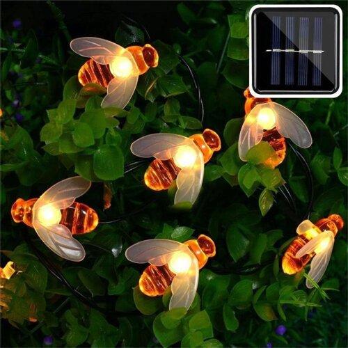 (5M 20LEDs) Solar Powered Cute Honey Bee, Led String Fairy Light, Outdoor Garden, Fence Patio Christmas Garland Lights