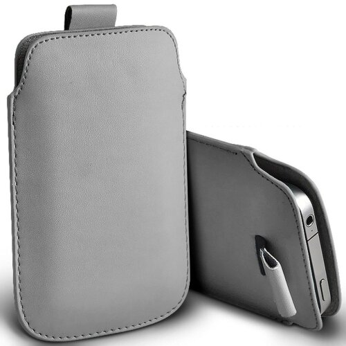 Apple iPhone 11 Pro Grey Pull Tab Sleeve Faux Leather Pouch Case Cover (XXXL)