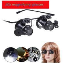 Eye Binocular Glasses Type Magnifier Watch Repair Tool With LED Lights