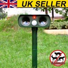 Solar Battery Cat Repeller Animal Chaser Scarer Ultrasonic Deterrent