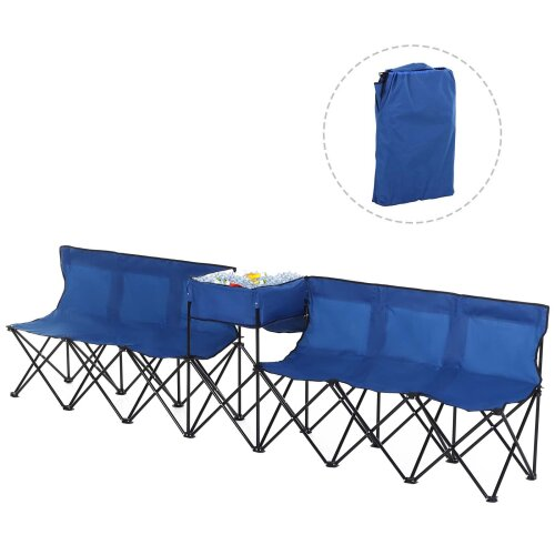 Outsunny 6 Seat Camping Bench Folding Portable Outdoor with Cooler Bag Blue