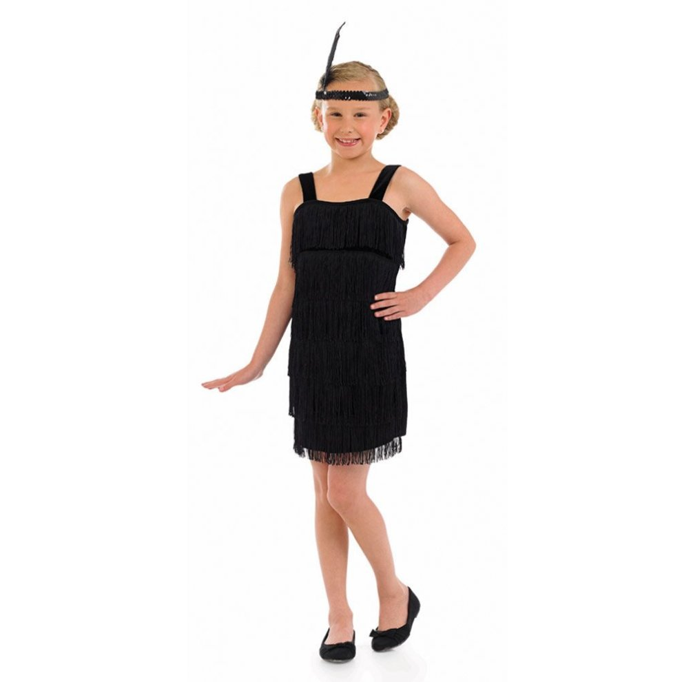 Girls Flapper Dress Headpiece Kids Childs 1920s Charleston Fancy Dress Costume