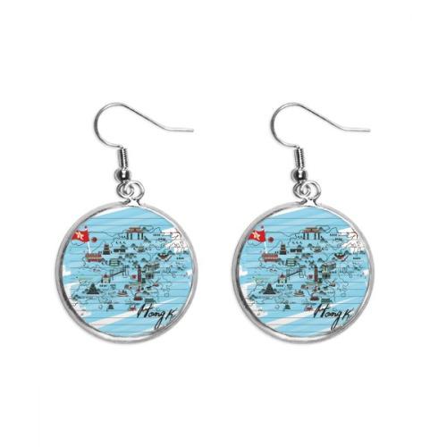Hong Kong Local Map Ear Dangle Silver Drop Earring Jewelry Woman