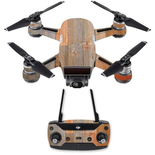 MightySkins DJSPCMB-Barnwood Skin Decal for DJI Spark Mini Drone Combo Sticker - Barnwood