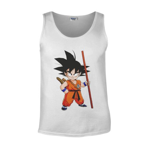 Japanese Anime Manga Dragon Ball Goku White Men Vest Tank Top