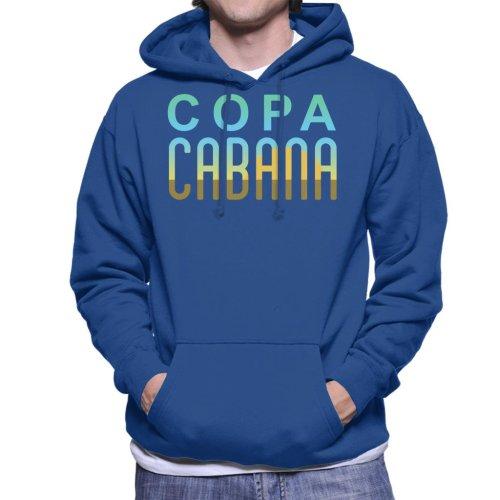 (XX-Large, Royal Blue) Copacabana Sunset Text Men's Hooded Sweatshirt
