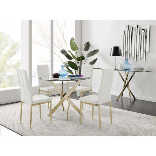 Novara 100cm Gold Round Dining Table and 4 Gold Leg Milan Chairs