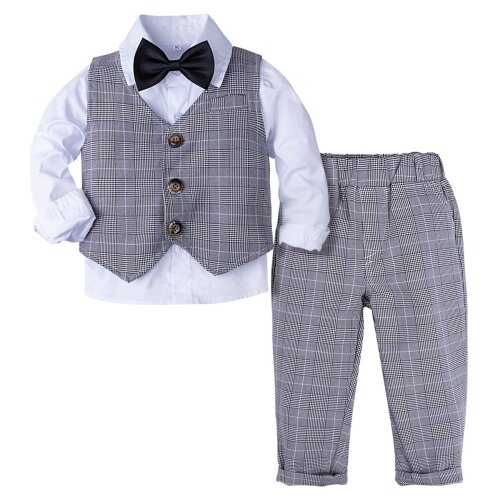 Baby Formal Suit, Infant Blazer Toddler/Gentleman Tuxedo, Outfit Wedding/Winter Long Sleeve Clothes Set 4PCS