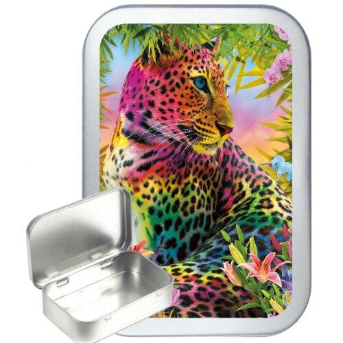 Colourful Leopard 50ml Silver Hinged Tobacco Tin, Gift Tin, pill tin