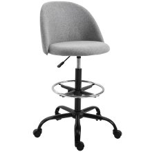Vinsetto 97cm Draughtsman Chair Home Office Ergonomic 5 Wheels Padded Seat Grey