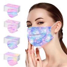 50 adult disposable masks adult 3-ply earmuffs protective