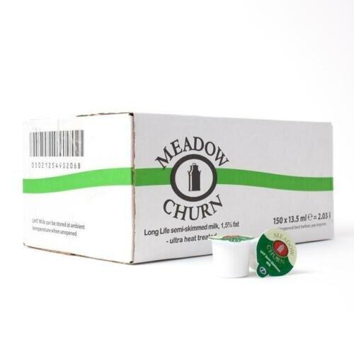 Meadow Churn Semi-Skimmed UHT Milk Pots (150 Pots Per Box) 07/10/20