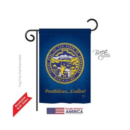 Breeze Decor 58144 States Nebraska 2-Sided Impression Garden Flag - 13 x 18.5 in.