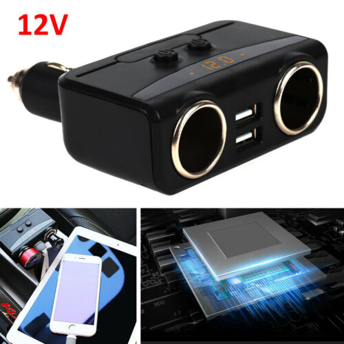 2 Way DC 12V Car Cigarette Lighter Adapter Socket Charger Splitter