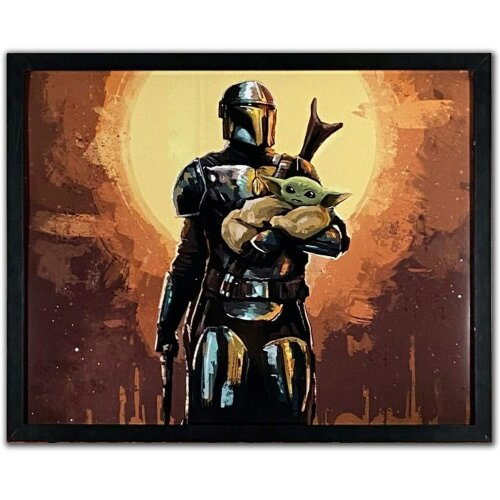 Reproduction Vintage Retro Star Wars Poster - The Mandalorian and Baby Yoda - Satin - A4 (210mm x 297mm)