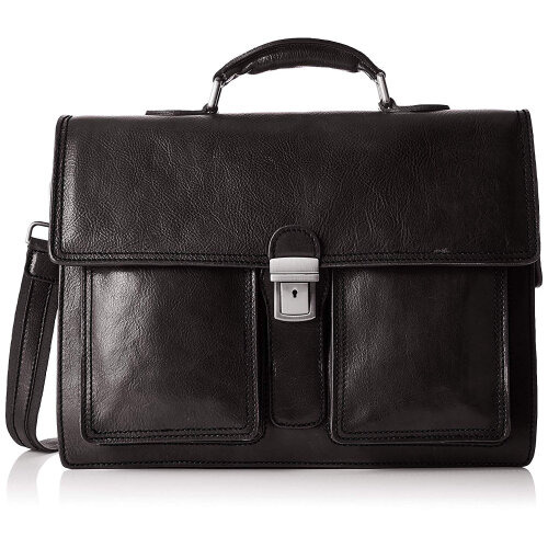 (Black) 43x30x11 cm  Leather Briefcase - Made in Italy